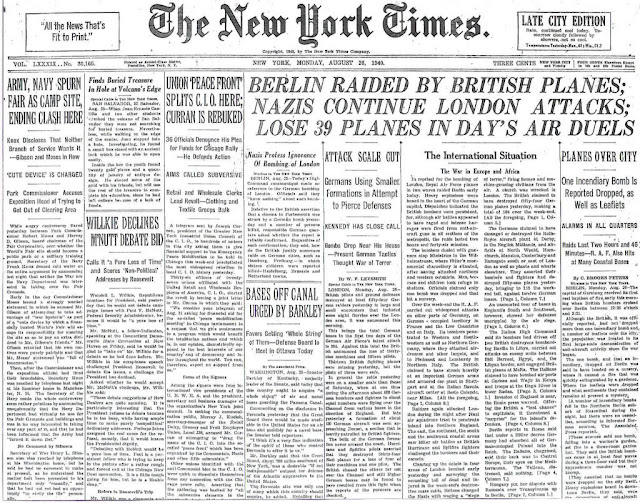 26 August 1940 worldwartwo.filminspector.com NY Times headline