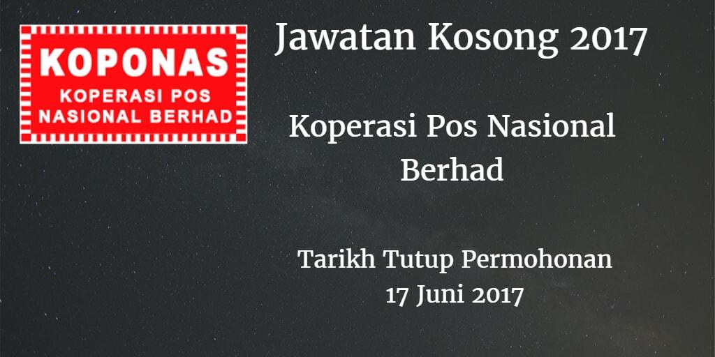 Jawatan Kosong KOPONAS 17 Juni 2017