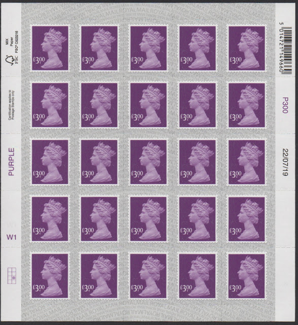 £3 definitive stamp 2019 Walsall printing full sheet