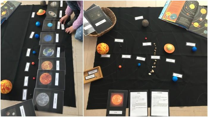 actividades espacio, universo planetas fases luna tierra montessori sistema solar