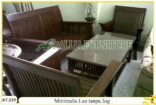 Meja & Kursi Tamu Set Ukiran Kayu Jati Minimalis Leo tanpa Jog