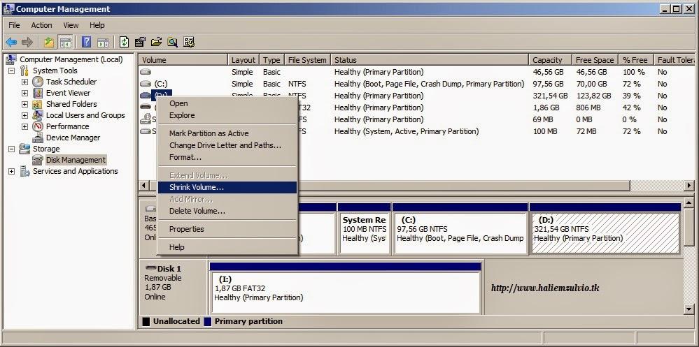 Cara Memperbesar Space Memory File System Local Disk C: