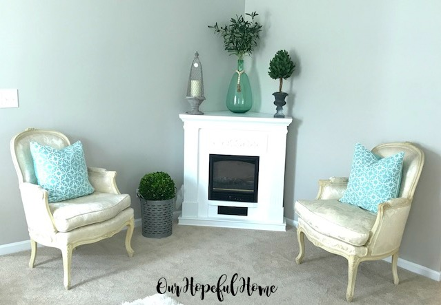 Vintage French Country Bergere Chairs thrifted living room fireplace