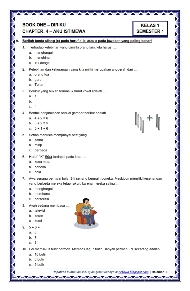 Download Soal Tematik Kelas 1 Sd Mi Semester 1 Kurikulum 2013 Terbaru Tempat Download Soal Ujian