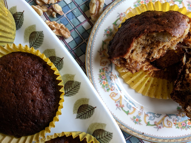 Banana walnut maple syrup muffins