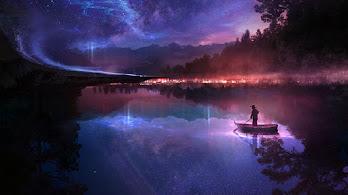 Digital Art, Night, Scenery, Lake, 4K, #4.1022