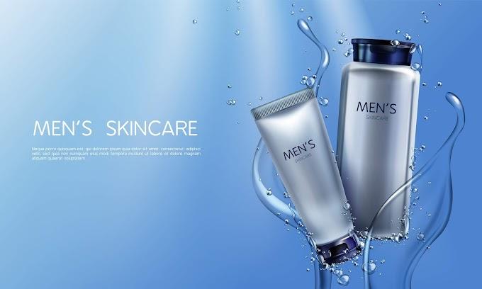 cosmetics vector background Vector 3d realistic cosmetics for men in blue water splashing Free Vector