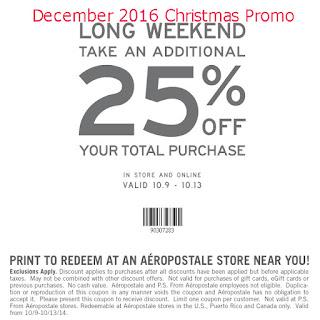 Aeropostale coupons december 2016