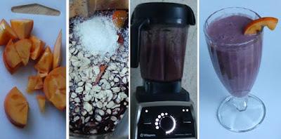 Zubereitung Frühstücks-Shake mit Kaki und Holunder