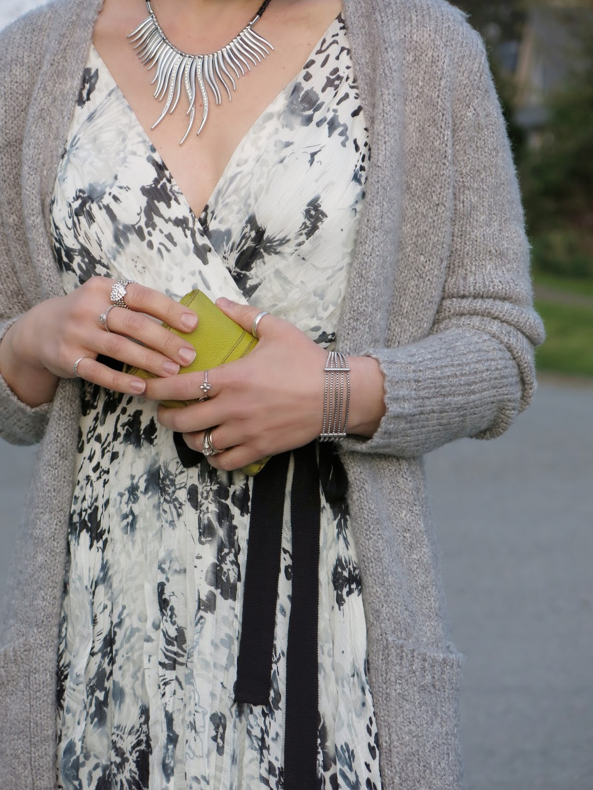 printed chiffon dress with a long cardigan and accessories