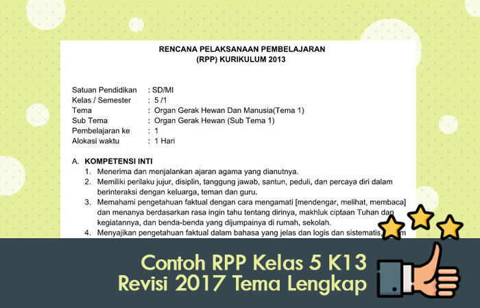 Contoh RPP Kelas 5 Kurikulum 2013 Revisi 2017 Tema Lengkap