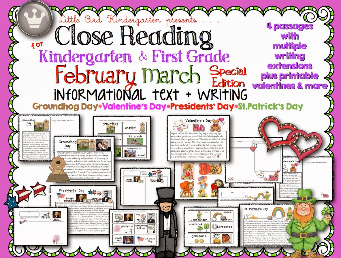 Little Bird Kindergarten Groundhog Day Close Reading