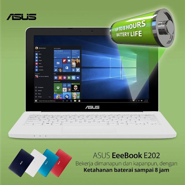 ASUS E202 memiliki daya tahan baterai hingga 8 jam