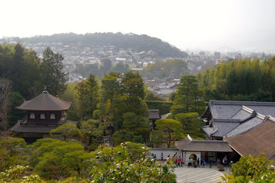 Top viewpoint of Ginkakuji temple ground and surrounding city