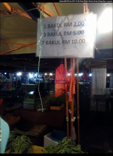 Harga sayur-sayuran di Pasar Malam Taman Seroja.