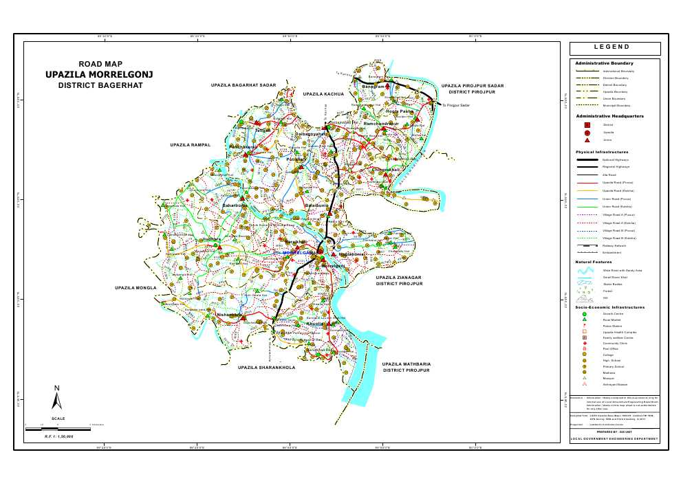 Morrelganj Upazila Road Map Bagerhat District Bangladesh