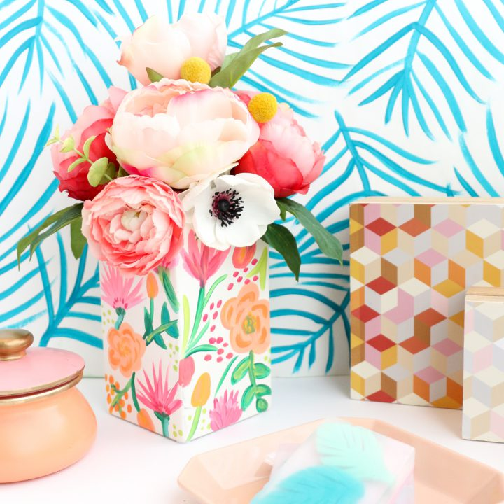 Try This Paint Your Own Pattern On Pattern Floral Vase The Sugar