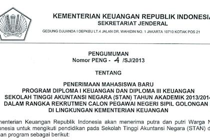 Pendaftaran Ujian Saringan Masuk STAN 2013/2014