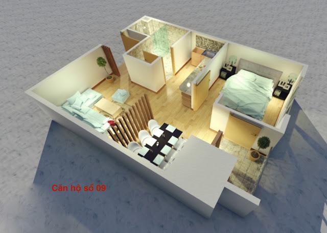 Thiết kế căn hộ 09 chung cư tháp doanh nhân