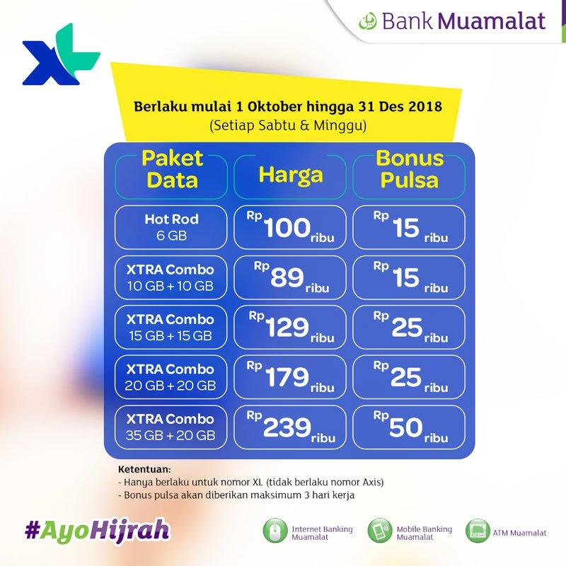 Bank Muamalat - Promo Bonus Pulsa XL Setiap Sabtu & Minggu (s.d 31 Des 2018)