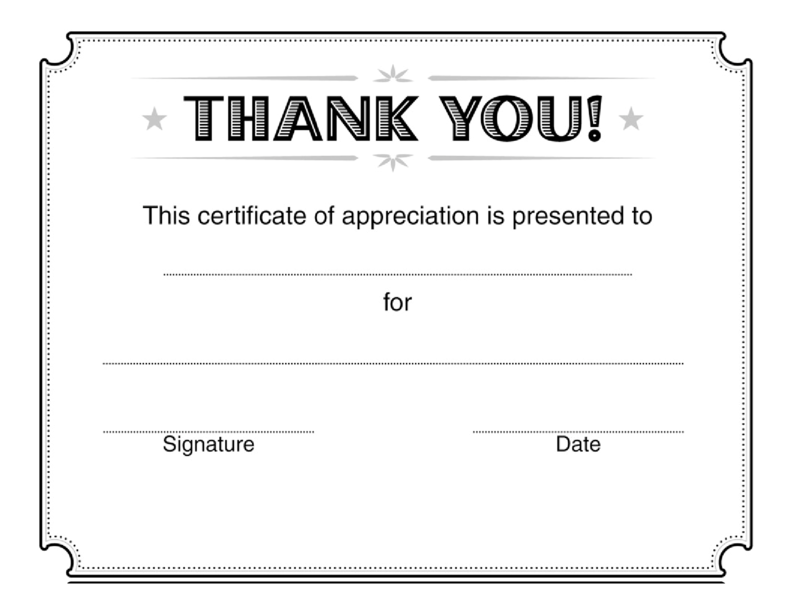 Certificate Of Appreciation Word Template  Free Editable Certificate Templates For Word