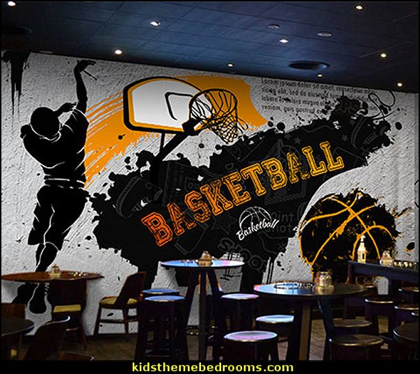 Sports graffiti large mural football basketball wallpaper lounge bar