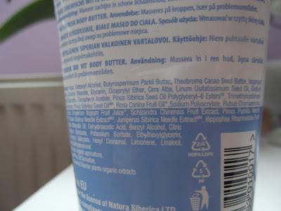 Natura Siberica Active Organics telové maslo proti celulitíde ingredients