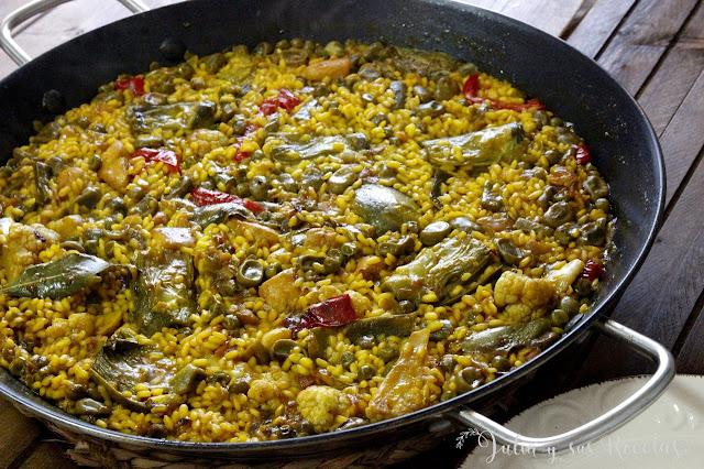 Paella de verdura. Julia y sus recetas