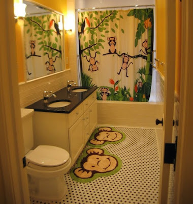 modern kids bathroom decor with non slip shower mats