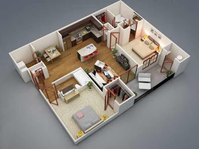 3D open floor plans with two bedrooms