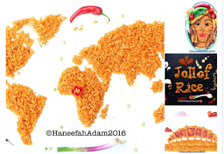 Jollof rice portrayed as  a map of the world, face of beauty, wordplay and a national monument. Art by : Haneefah Adam
