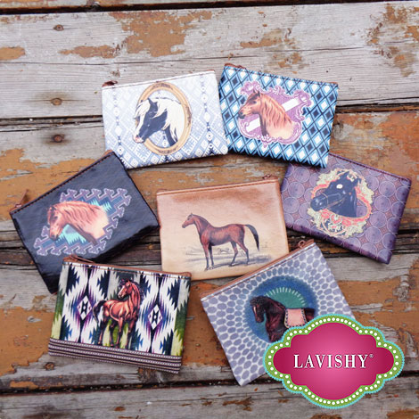 LAVISHY vegan leather keyring coin purses with horse print