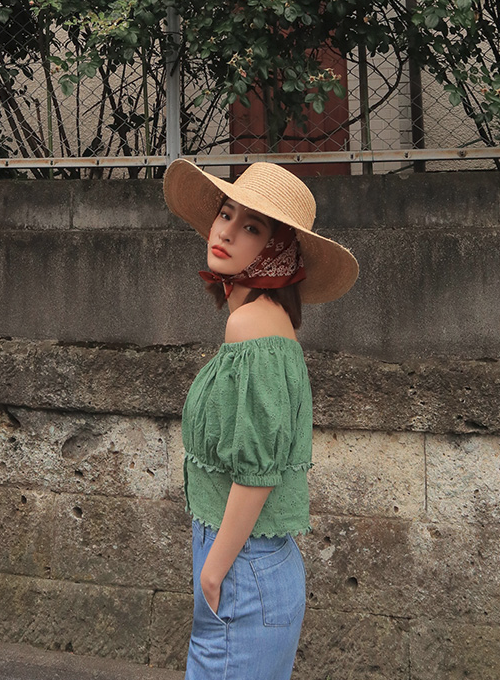 Perforated Lace Trim Off-Shoulder Blouse