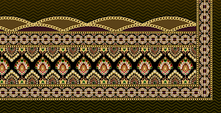 Textile Digital Print Border Design, textile print border design