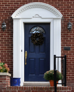 Rousseau 39 s fine furniture and decor say hello with your - Front door colors for blue house ...