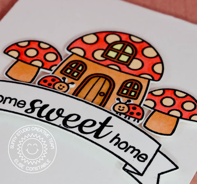 Sunny Studio: Backyard Bugs Home Sweet Home Toadstool House card by Elise Constable