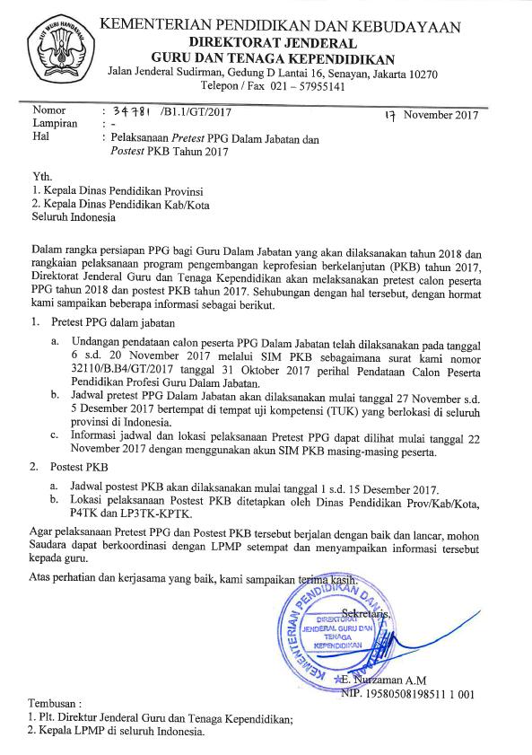 Surat Undangan Jadwal Pre Test PPG 2018 dan Post Test PKB 2017
