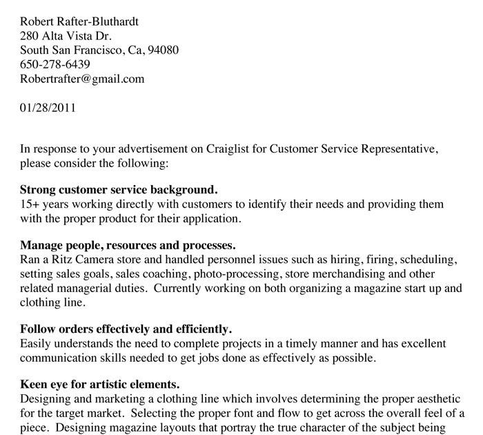 Writing Portfolio Cover Letter Example