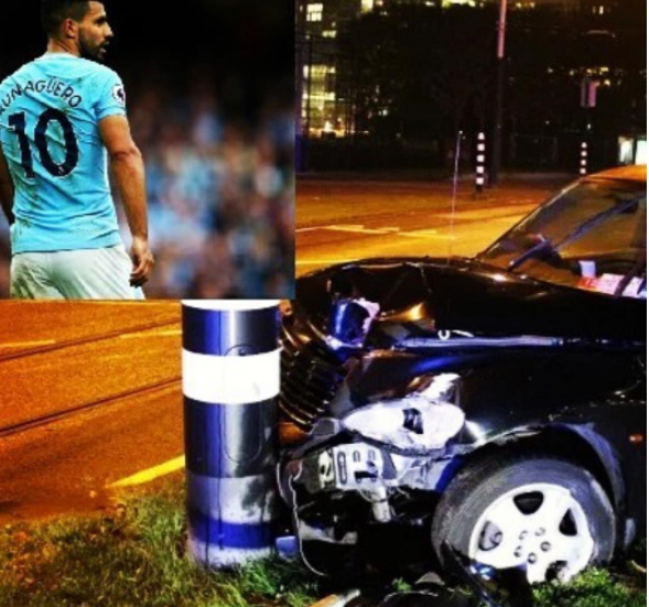 Manchester City striker, Sergio Aguero involved in car crash