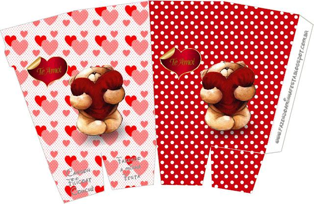 Teddy Bear in Love Free Printable Pop Corn Box.