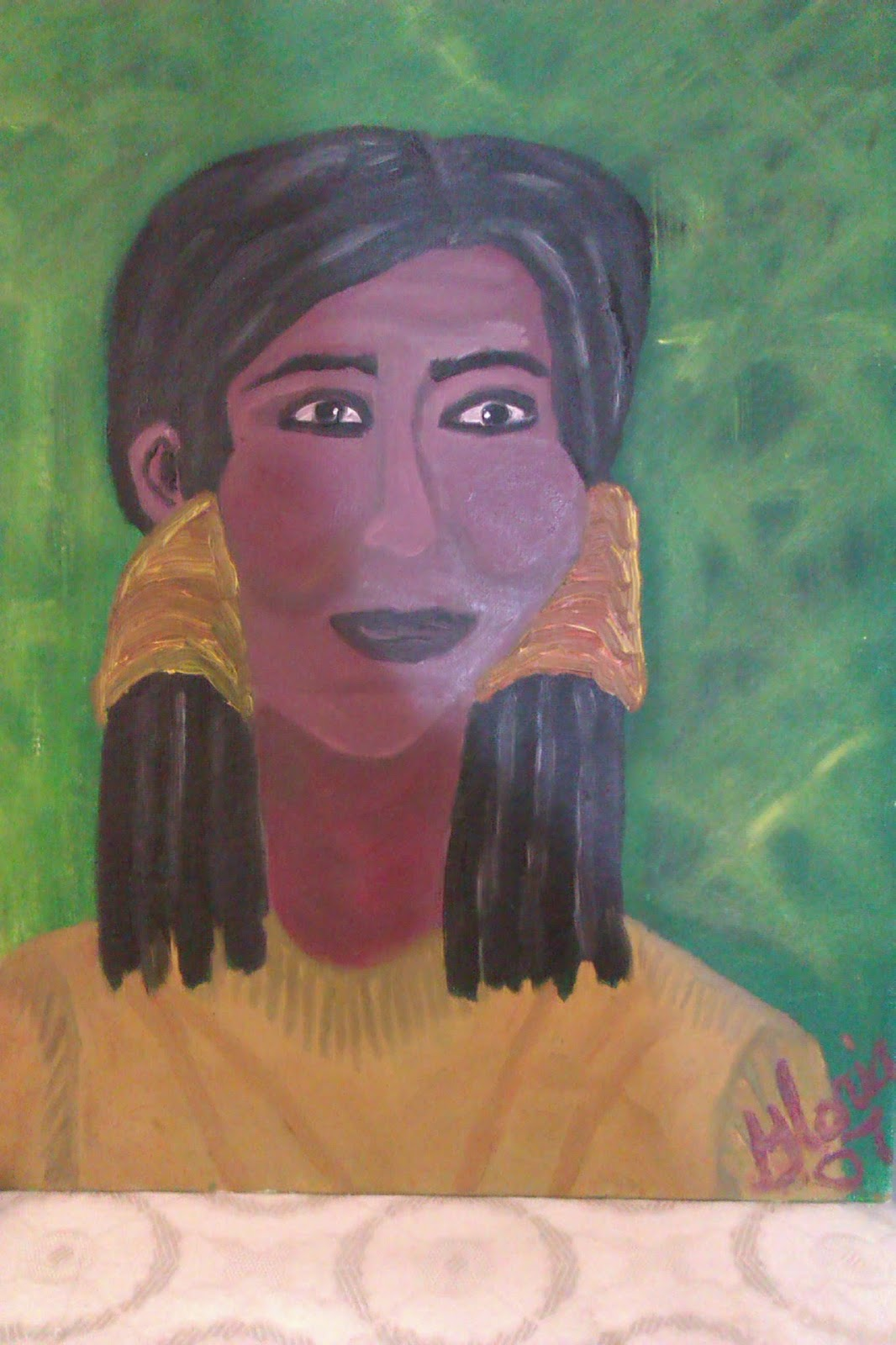 Ethnic oil painting of Indian woman  by Gloria Poole ; yr 2007