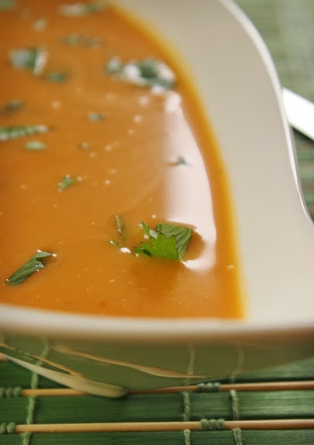 Thai Squash Soup Garnished with Chopped Cilantro