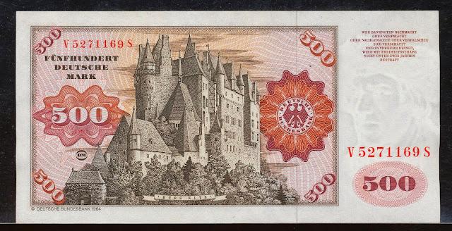 500 Deutsche Mark banknote German Castle Burg Eltz