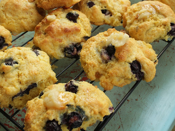 Biscuits for my sweet ladies (Blueberry Brie Cornbread Biscuits with Honey Butter)
