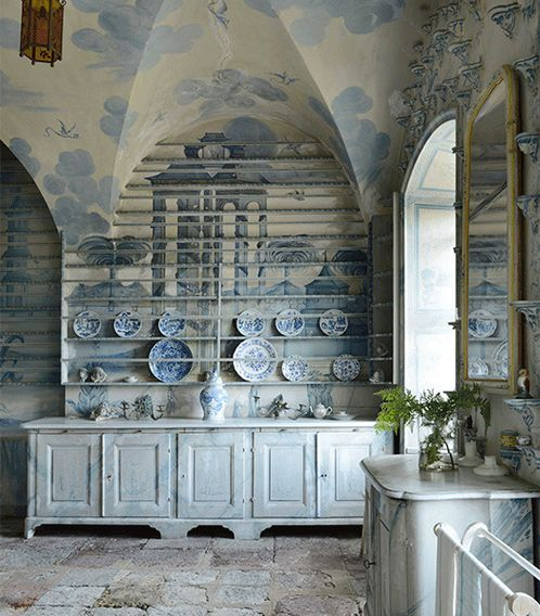 French chinoiserie kitchen in pale blue