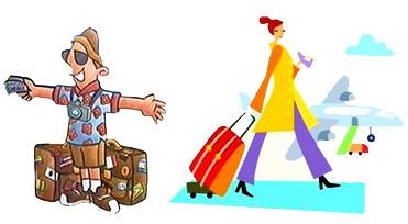 Caricatura com turistas.