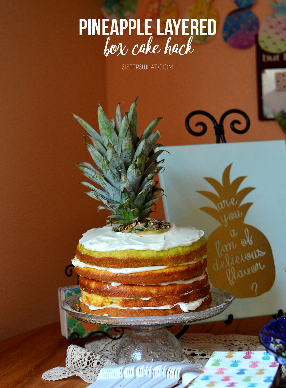 Using a yellow cake box and some homemade pineapple frosting, this is such an amazing pineapple cake! Easy to make and use for a pineapple party for summer