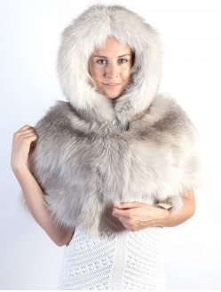Grey real fur stoles with hood