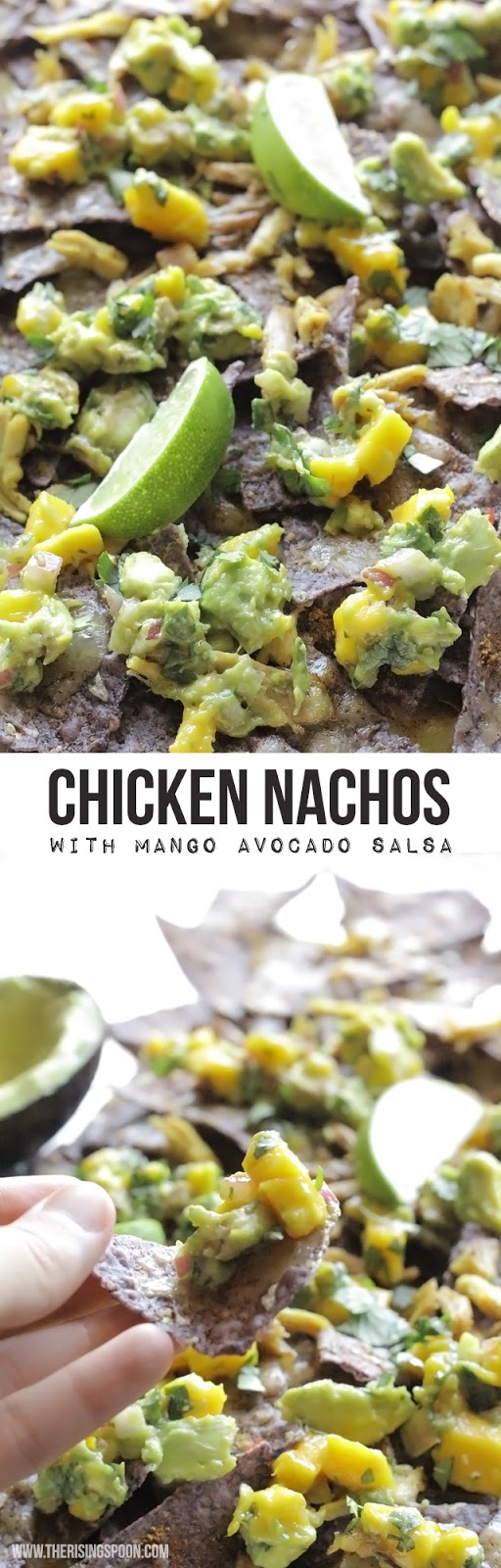 Chicken Nachos with Mango Avocado Salsa | www.therisingspoon.com