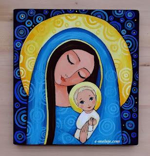 Maleńka Madonna … ikona Autorska Oryginalny prezent na Święta